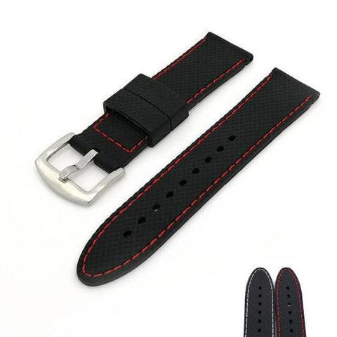 Image of Black Rubber Watch Band With White / Red Threads (TWS124)