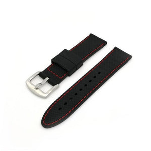 Black Rubber Watch Band With White / Red Threads (TWS124)