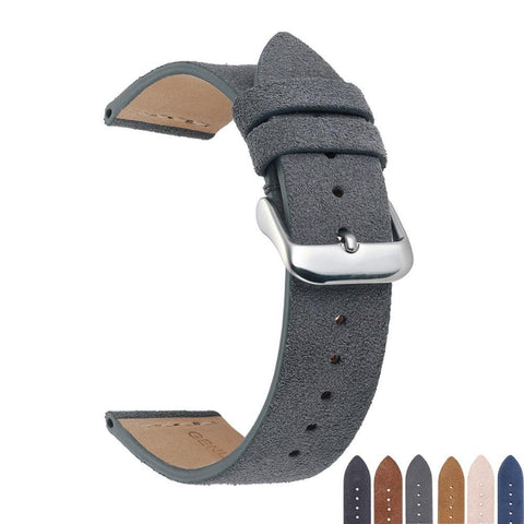 Image of Blue / Beige / Brown/ Grey / Black Suede Leather Watch Band With Silver Buckle (TWS157)