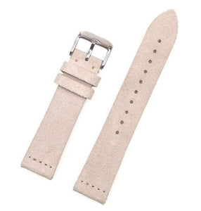Blue / Beige / Brown/ Grey / Black Suede Leather Watch Band With Silver Buckle (TWS157)