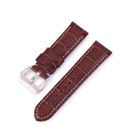 Image of Blue / Brown / Black Calf Leather Watch Band With Silver Buckle (TWS045)