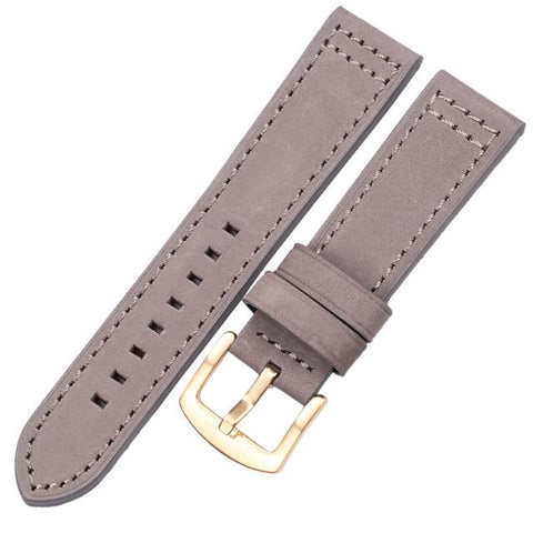 Image of Blue / Brown / Grey / Black Leather Watch Band With Silver / Gold / Black Buckle (Quick Release Pin) (TWS067)