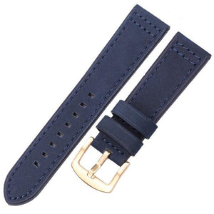 Blue / Brown / Grey / Black Leather Watch Band With Silver / Gold / Black Buckle (Quick Release Pin) (TWS067)