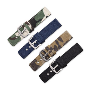 Blue / Green / Brown / Black Canvas Watch Band With Silver Buckle (TWS085)