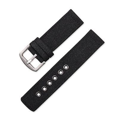 Image of Blue / Green / Brown / Black Canvas Watch Band With Silver Buckle (TWS085)