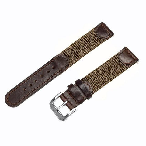 Blue / Green / Brown / Black Nylon Watch Band With Silver Buckle (TWS132)