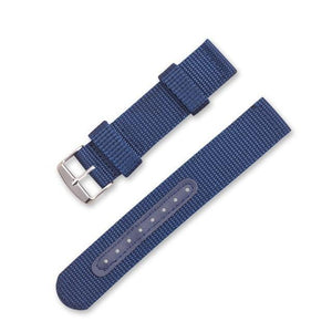 Blue / Green / Brown / Black Nylon Watch Band With Silver Buckle (TWS141)