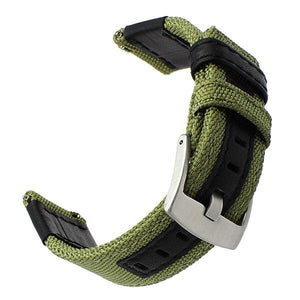 Blue / Green / Brown / Black Nylon With Leather Watch Band (Quick Release Pin) (TWS096)
