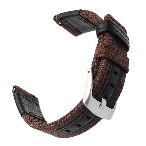 Image of Blue / Green / Brown / Black Nylon With Leather Watch Band (Quick Release Pin) (TWS096)