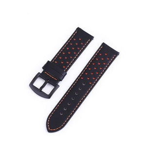 Blue / Green / Brown / Grey / Black Leather Watch Band With Black Buckle (Quick Release Pin) (TWS121)