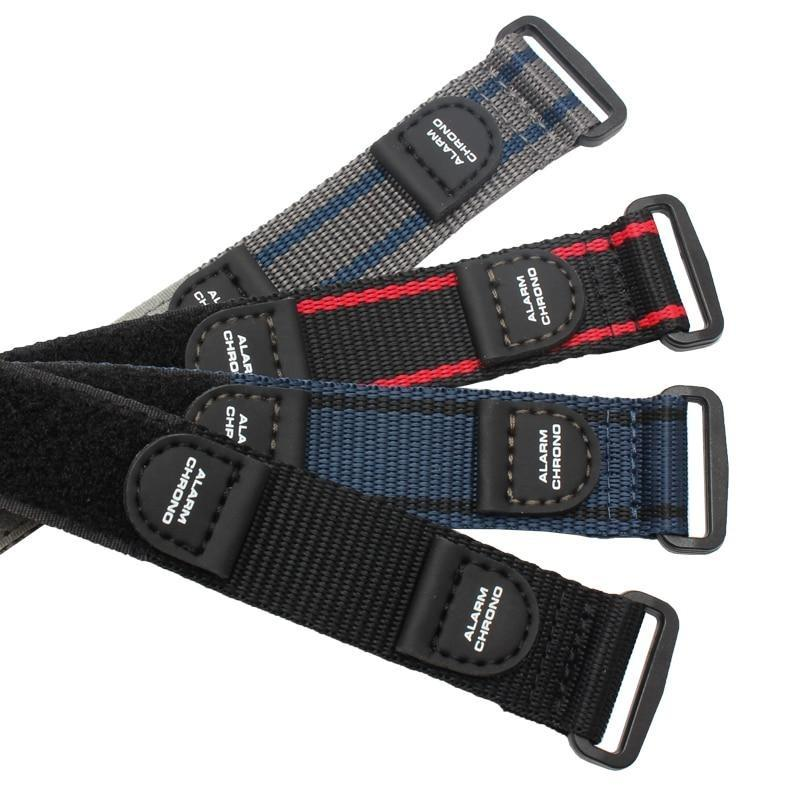 Blue / Grey / Black Canvas Watch Band With Velcro (TWS128)