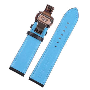 Blue / Red Leather Watch Band With Silver / Gold / Rose Gold / Black Deployant Clasp (TWS136)