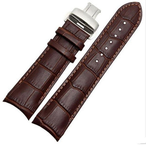 Brown / Black Curved Leather Watch Band With Silver Deployant Clasp (TWS122)