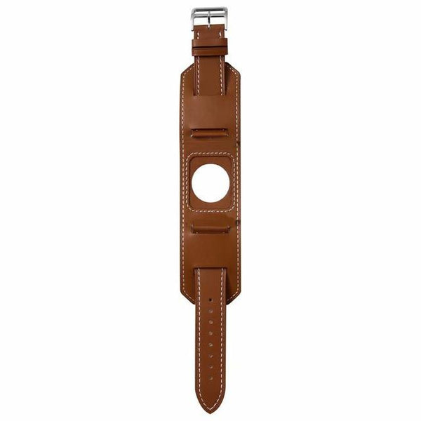 Brown / Black Leather Cuff Bracelet With Silver Buckle (TWS039)