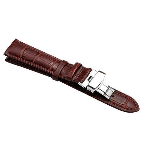 Brown / Black Leather Watch Band With Silver Deployant Clasp (TWS151)