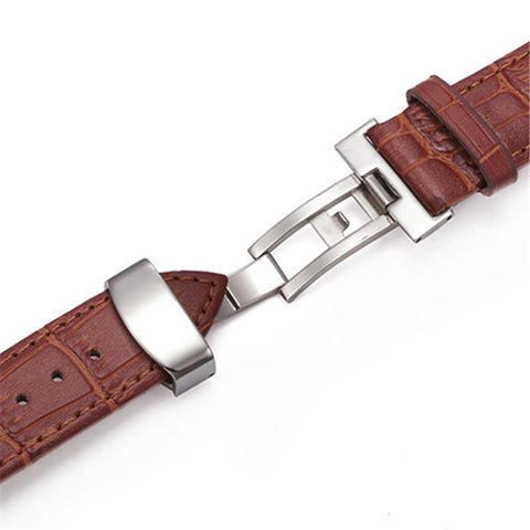 Image of Brown / Black Leather Watch Band With Silver Deployant Clasp (TWS151)
