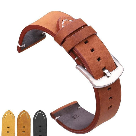 Image of Brown / Black Leather Watch Band With Silver / Gold / Black Buckle (TWS065)