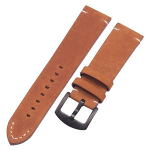 Brown / Black Leather Watch Band With Silver / Gold / Black Buckle (TWS065)