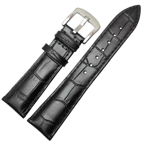 Image of Brown / Black Leather Watch Band With Silver / Gold Buckle (TWS137)