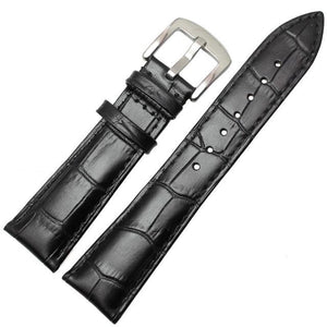 Brown / Black Leather Watch Band With Silver / Gold Buckle (TWS137)