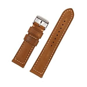 Brown Leather Watch Band With Silver Buckle (Quick Release Pin) (TWS047)