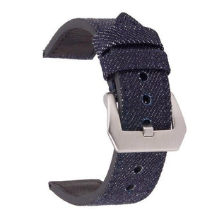 Denim Leather Watch Band With Silver Buckle (TWS076)