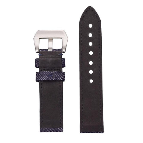Image of Denim Leather Watch Band With Silver Buckle (TWS076)