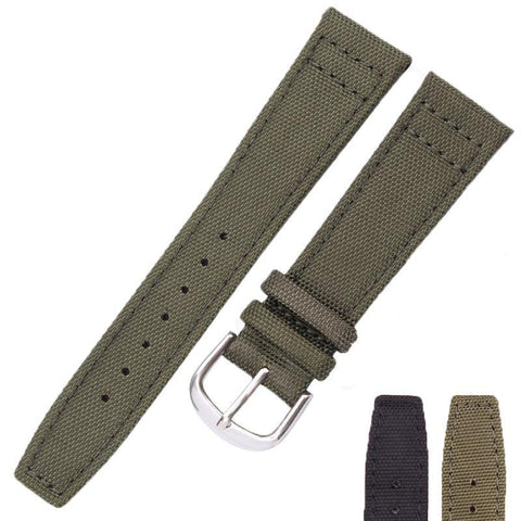 Image of Green / Black Canvas Watch Band With Silver Buckle (TWS044)