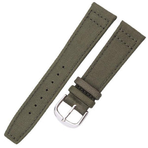Green / Black Canvas Watch Band With Silver Buckle (TWS044)