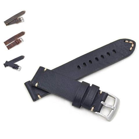 Green / Brown / Black Leather Watch Band With Silver Buckle (TWS083)