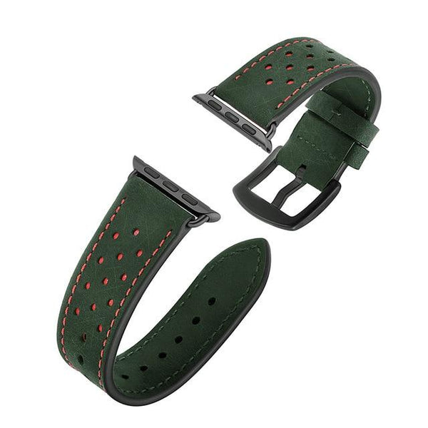 Green / Brown / Grey/ Black Leather Watch Band (For Apple Watch) (TWS146)