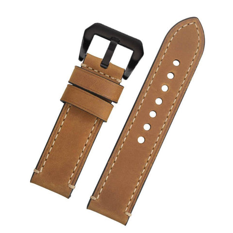 Image of Green / Tan / Brown / Grey / Black Leather Watch Band With Silver / Black Buckle (TWS135)