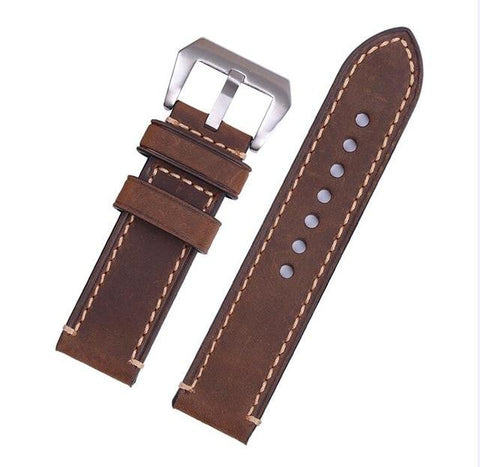 Green / Tan / Brown / Grey / Black Leather Watch Band With Silver / Black Buckle (TWS135)