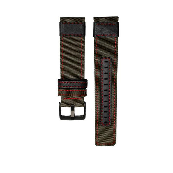 Nylon Watch Band With Silver / Black Buckle (TWS129)