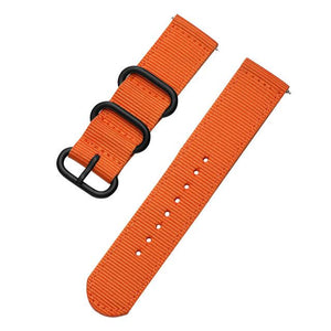 Orange / Blue / Green / Black Nylon Watch Band With Black Buckle (Quick Release Pin) (TWS055)