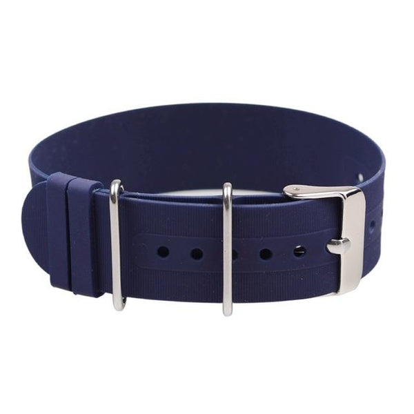 Orange / Blue / Grey / Black Rubber NATO Watch Band With Silver Buckle (TWS078)