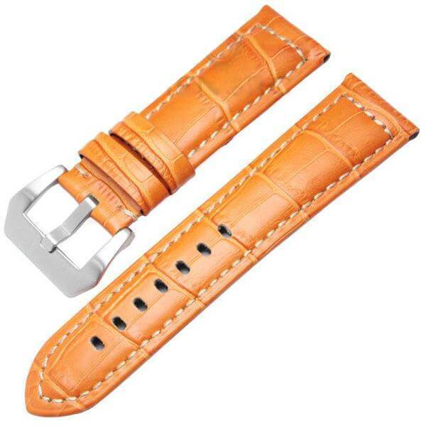 Orange / Brown / Black Leather Watch Band With Silver / Black Buckle (TWS081)