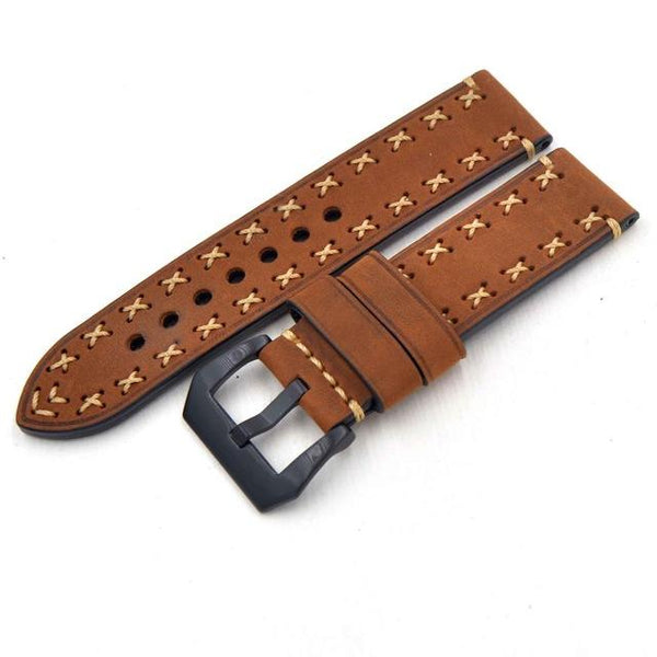 Orange / Green / Brown / Grey / Black Leather Watch Band With Black Buckle (TWS109)