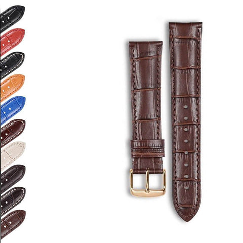 Orange / Red / Blue / Beige / Brown / Black Leather Watch Band with Rose Gold Buckle (TWS035)