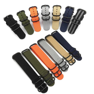 Orange / Red / Blue / Green / Beige / Grey / Black ZULU Watch Band With Black Buckle (TWS113)
