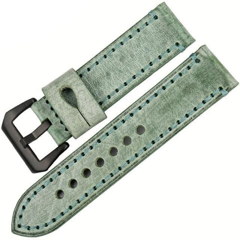 Image of Orange / Red / Blue / Green / Brown / Grey Leather Watch Band With Silver / Black Buckle (TWS068)