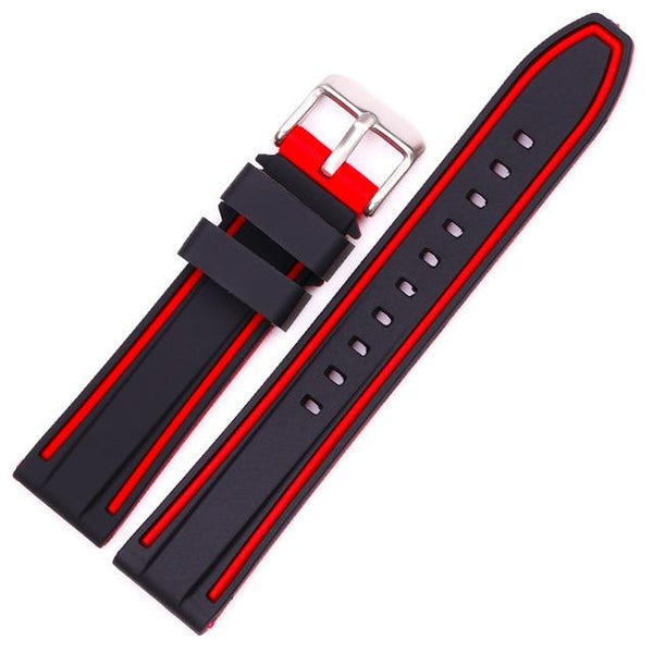 Orange / Red / Blue / Grey Rubber Watch Band With Silver Buckle (TWS120)