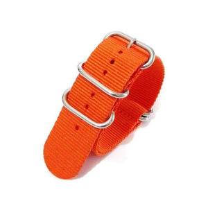 Orange / Red / Green / Grey / Black Nylon NATO Watch Band With Silver Buckle (TWS079)