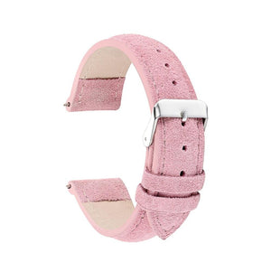 Pink / Blue / Purple / Green / Brown / Grey Suede Leather Watch Band With Silver Buckle (TWS064)