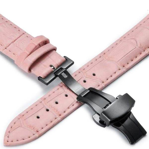 Pink Leather Watch Band With Deployant/Butterfly Clasp (TWS148)