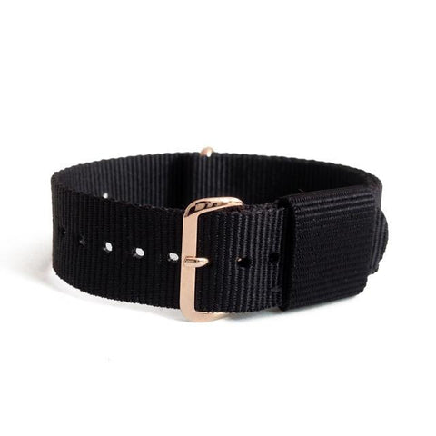 Red / Blue / Black Nylon NATO Watch Band With Silver / Rose Gold Buckle (TWS149)