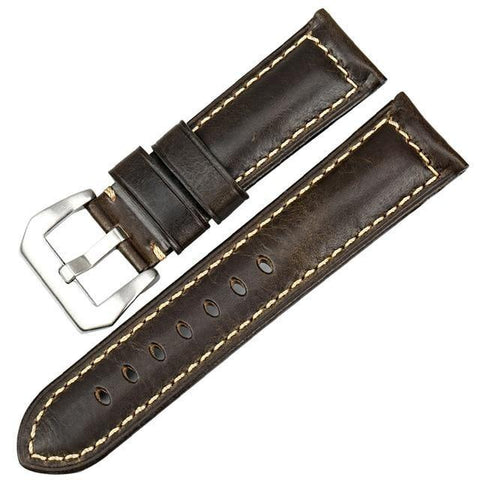 Red / Blue / Green / Brown / Black Leather Watch Band With Silver / Black Buckle (TWS082)