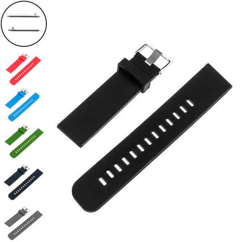 Red / Blue / Green / Grey / Black Rubber Watch Band with Silver Buckle (Quick Release Pin) (TWS033)