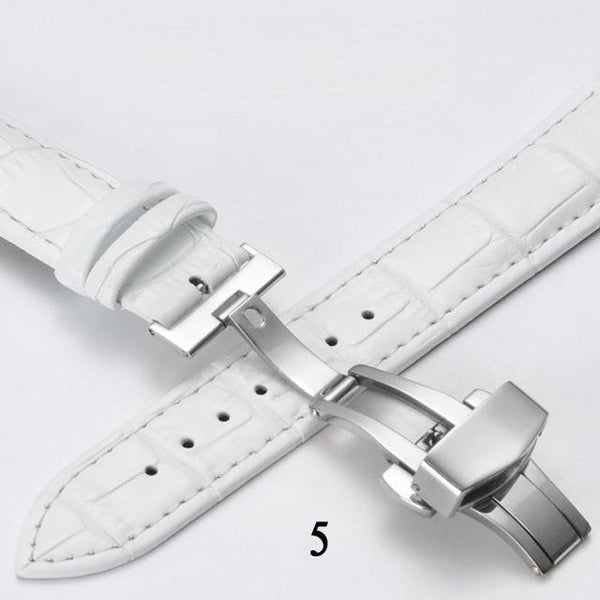 Red / White / Blue Leather Watch Band With Deployant/Butterfly Clasp (TWS148)