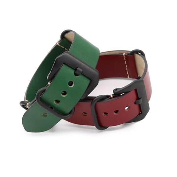Vintage Red / Green / Brown / Black Leather NATO Watch Band With Silver / Black Buckle (TWS089)